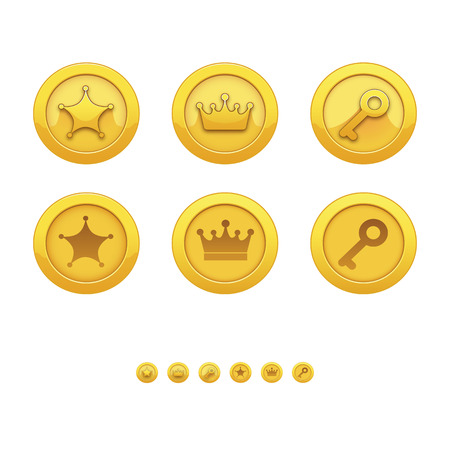 computer games: Game icons for applications: gold medal, award, star, crown, key. Gold medals for computer games. Awards for achievements.