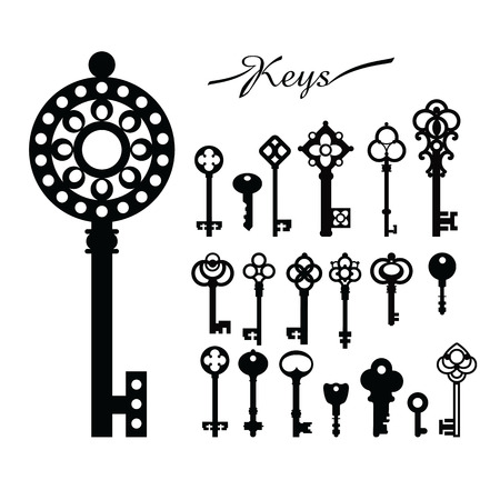victorian gates: Black & white set silhouettes of keys different shapes.