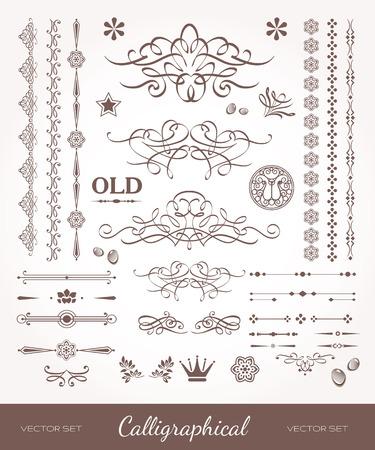 Mooie beroertes en lijnen. Set van design elementen voor boeken. Oude kunstzinnige stijl.