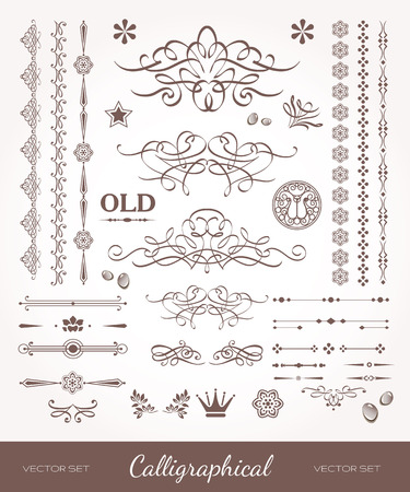 artsy: Beautiful strokes and lines. Set of design elements for books. Old artsy style. Illustration