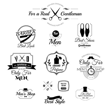 scissor cut: Gentleman set. Set of labels for men clothing and accessories. Icons for your design.