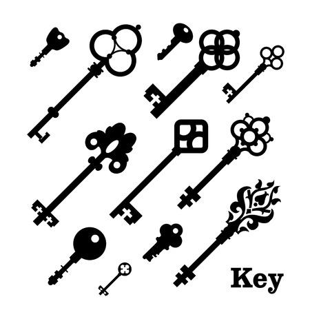 latchkey: Black & white set silhouettes of keys different shapes.