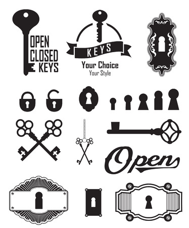 old key: Different beautiful silhouettes keyholes. Set of silhouettes keys and keyholes. Decorated frame. Vector illustration on white background.