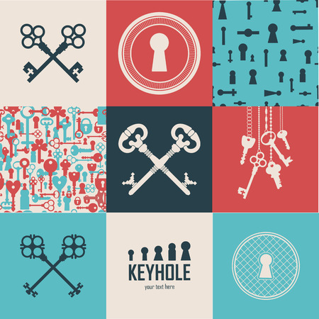 old keys: Seamless background of lock icons and keys. Multicolor silhouettes of keys & lock different shapes. Illustration