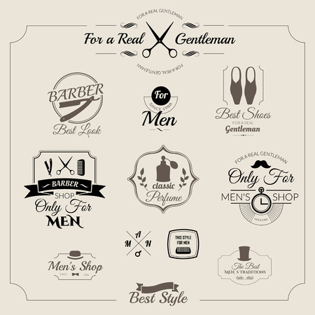 old items: Gentleman set. Set of labels for men clothing and accessories. Icons for your design.   Illustration