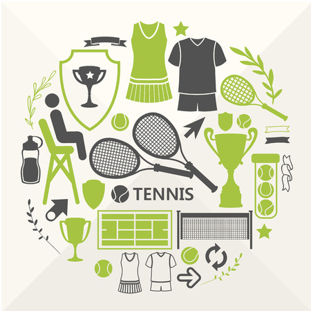 tennis player: Flat objects arranged in a circle. Icons for your design. Set of tennis icons.