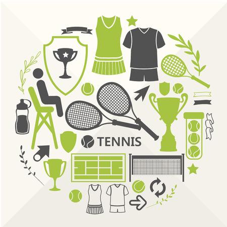 raqueta de tenis: Objetos planos dispuestos en un círculo. Los iconos para su diseño. Conjunto de iconos del tenis.