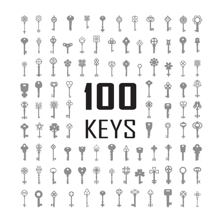 passkey: Black & white set silhouettes of keys different shapes. One hundred silhouettes. Illustration