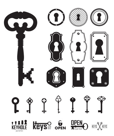 passkey: Different beautiful silhouettes keyholes. Set of silhouettes keys and keyholes. Decorated frame. Vector illustration on white background.