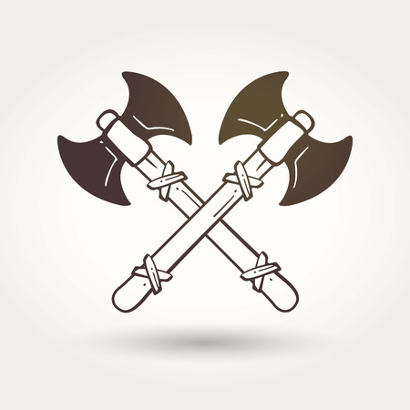 viking: Viking crossed battle axes. The emblem of the Vikings. Medieval weapons. Game icons. Cartoon weapons Illustration