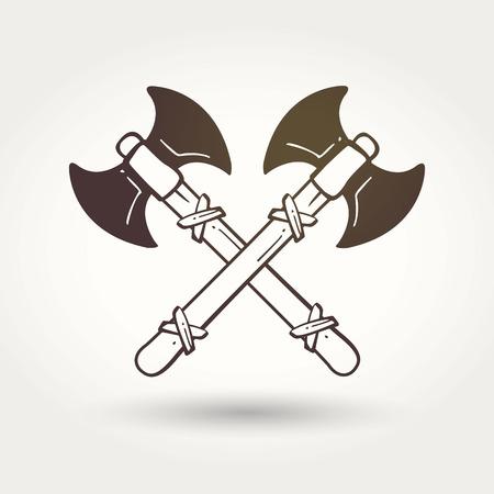 vikingo: Vikingo cruzó hachas de batalla. El emblema de los vikingos. Armas medievales. Iconos del juego. Armas de dibujos animados Vectores