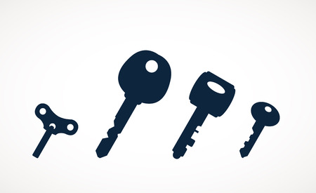passkey: Black & white set silhouettes of keys different shapes.