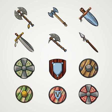 vikingo: Iconos del juego. Armas de dibujos animados. Armas Medieva.