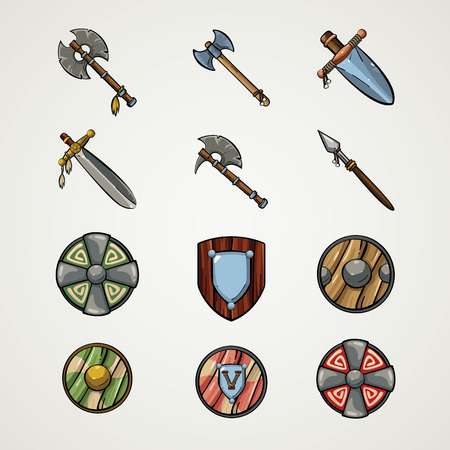 Game icons. Cartoon weapons. Medieva  weapons. Illustration