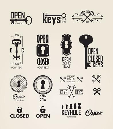 llaves: Diferentes hermosas siluetas cerraduras. Conjunto de siluetas de llaves y cerraduras. Marco decorado. Ilustración vectorial sobre fondo blanco.