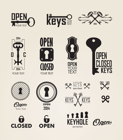 key: Different beautiful silhouettes keyholes. Set of silhouettes keys and keyholes. Decorated frame. Vector illustration on white background.
