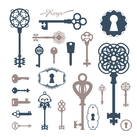 Set of icons keyholes & keys. Beautiful silhouettes keyholes in a decorative frame.