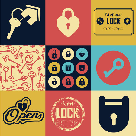 skeleton key: Seamless background of lock icons and keys. Multicolor silhouettes of keys & lock different shapes. Illustration