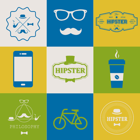 sir: Set of hipster vintage retro Icons. Simple flat elements and symbols for your design.