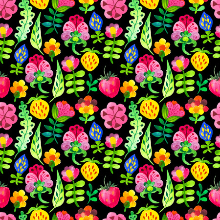 doodling: Seamless floral & flower background. Watercolor elements for decoration and create your design. Watercolor doodling. Fabulous pattern on black background. Illustration