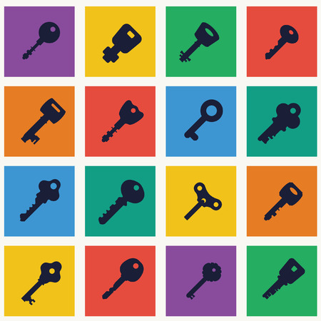 passkey: Icon set of keys. Different silhouettes & shapes keys.