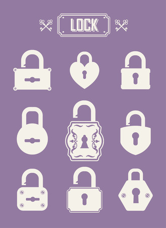 oldish: Set of lock &  keys icons. Simple silhouettes of lock for door. Illustration