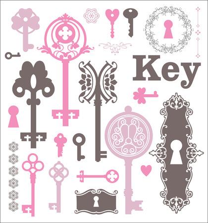 llaves: Conjunto de iconos de cerraduras y llaves. Siluetas hermosas cerraduras en un marco decorativo.