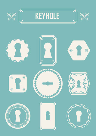 door lock: Set of silhouettes keyholes. Beautiful silhouettes keyholes in a decorative frame.