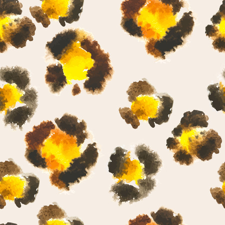 Seamless pattern of leopard spots. Painted by hand in watercolor leopard skin