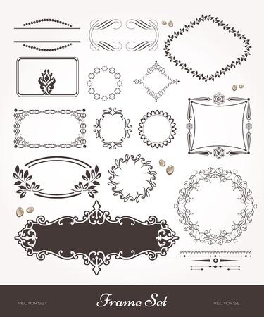ephemera: Belle cornici e striscioni. Set di elementi di design per i libri. Old style artsy. Black & white illustrations.