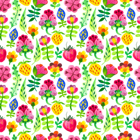 doodling: Seamless floral & flower background. Watercolor elements for decoration and create your design. Watercolor doodling. Fabulous pattern on white background.
