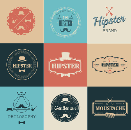 cutthroat: Hipster style. Set of hipster vintage retro labels