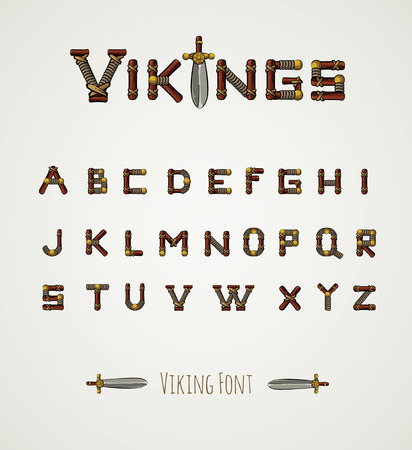 Font in Viking style. Medieval weapons. Game icons. Viking emblem. Cartoon weapons alphabet. Illustration