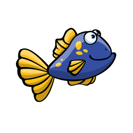 Frightened and funny blue & yellow fish on white background. Happy pretty fish.