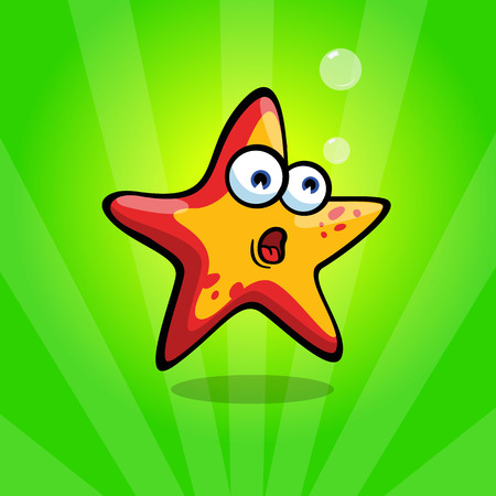Frightened and funny red & yellow starfish on green background. Concerned emotion.