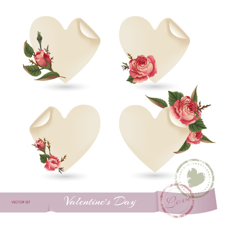 primula: Flowers & hearts set. Cards for lovers. Romantic set. Decoration of flowers roses.
