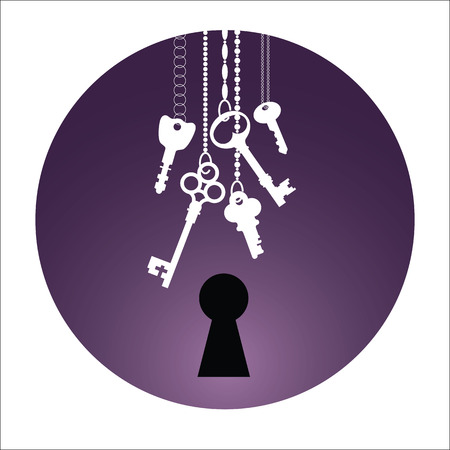 Illustrations of the keys and keyhole in circle. Bunch of keys on chain. Black, white & violet. Mysteries and secrets.