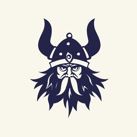 戦士のステンシルのイメージ。マスコット デザインの頭の紋章。ベクトル図、中世の武器。ゲームのアイコン。漫画のスタイル。