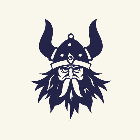 viking: Stencil image of warrior. Head emblem for mascot design. Vector illustration Medieval weapons. Game icons. Cartoon style.