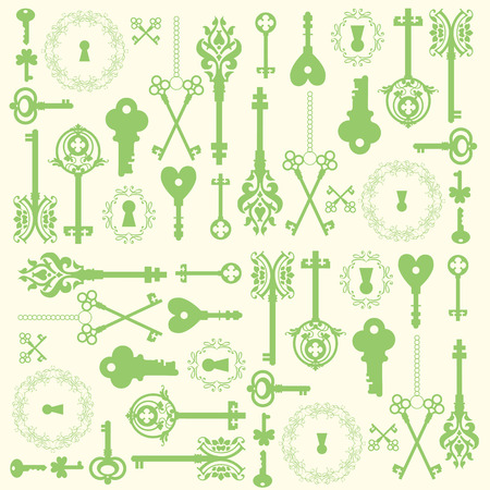 passkey: Background with a Vintage silhouette keys. Beautiful silhouette keyholes, decorated frame & items.