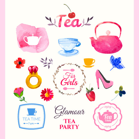 decoration design: Watercolor set on tea theme. Tradition of tea time. Multicolor cute watercolor design. Handmade doodling.  Set of decorative elements in glamorous style.