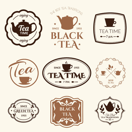 Simple symbols with cup & teapot. Traditions of tea time. Decorative elements for your design.