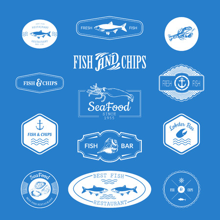 delicacy: Logo set for fish restaurant or bar with a picture of the fish. Blue sings on blue background.
