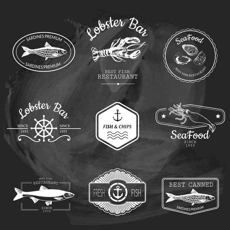 simple fish: Logo set for fish restaurant or bar with a picture of the fish. Simple drawn sketch in vector format on a blackboard. Illustration