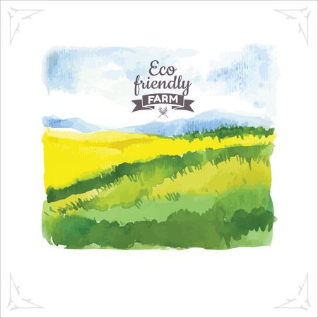 유기농 농장. 수채화 그림 poleravy와 하늘입니다. 자연의 벡터 일러스트 레이 션.