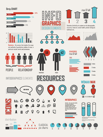 Statistics Charts And Graphs Infographic Simple Flat Elements