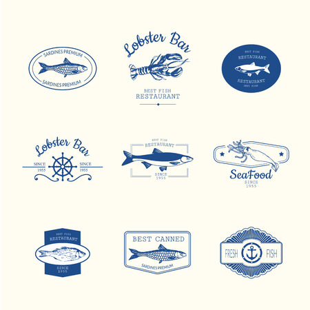 Logo set for fish restaurant or bar with a picture of the fish. Blue sings on white background. Vettoriali
