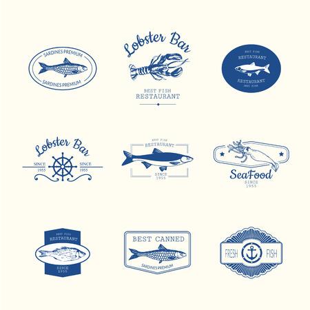 logo poisson: Logo fixé pour le restaurant de poisson ou bar avec une image du poisson. Bleu chante sur fond blanc.