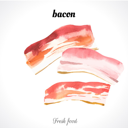 Watercolor illustration of a painting technique. Fresh organic food. Bacon Ilustração