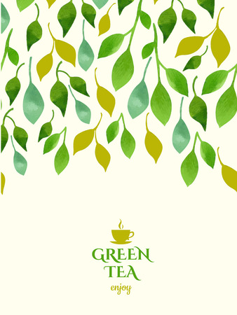 Watercolor background of green leaves with emblem of tea. Ornament made from tea leaves. Packaging design